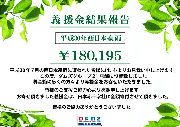 【西日本豪雨義援金結果報告】